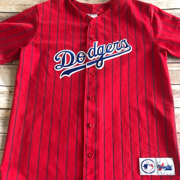 Majestic Tops - Vintage Red Pin Stripe Dodgers Jersey! a2500c38c5c